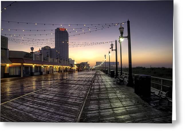 Atlantic Digital Art Greeting Cards - Atlantic City Boardwalk in the Morning Greeting Card by Bill Cannon