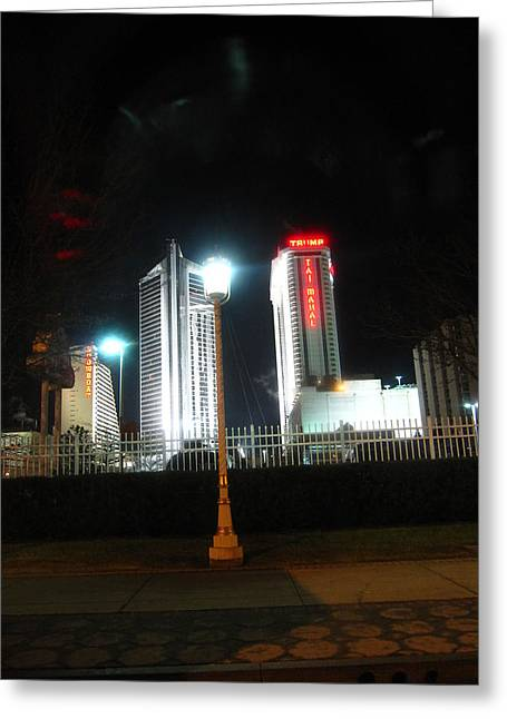 Lighted Greeting Cards - Atlantic City - Casino - 01135 Greeting Card by DC Photographer
