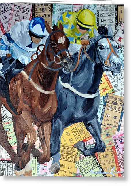 Race Horse Mixed Media Greeting Cards - Atlantic City Downs Greeting Card by Michael Lee