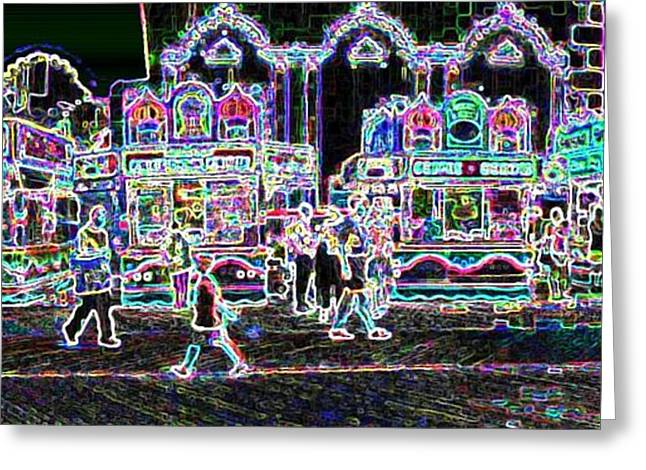 French Fries Digital Greeting Cards - Atlantic City Neon Greeting Card by David Schneider