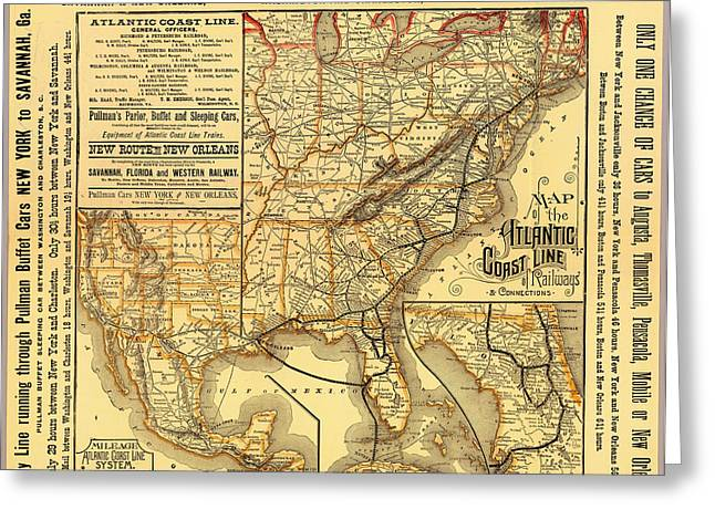 1880s Drawings Greeting Cards - Atlantic Coast Line Railway Map 1885 Greeting Card by Mountain Dreams