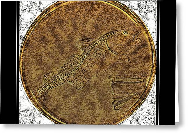 Brass Etching Greeting Cards - Atlantic Codfish and Jigger - Brass Etching Greeting Card by Barbara Griffin