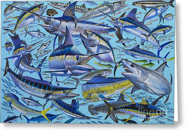Mackerel Greeting Cards - Atlantic Gamefish Off008 Greeting Card by Carey Chen