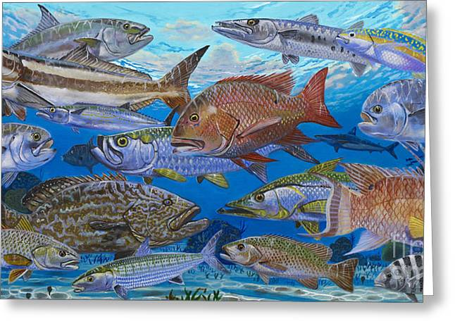 Striped Marlin Greeting Cards - Atlantic Inshore Species In0013 Greeting Card by Carey Chen