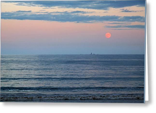 Atlantic Moon Rise Greeting Card by Barbara McDevitt