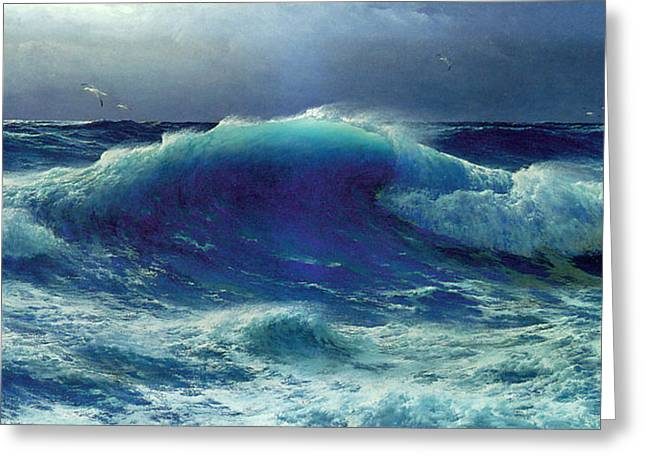 Seascape Greeting Cards - Atlantic Roll Greeting Card by David James