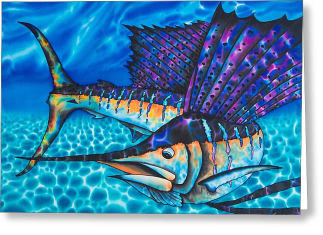 Famous Tapestries - Textiles Greeting Cards - Atlantic Sailfish Greeting Card by Daniel Jean-Baptiste