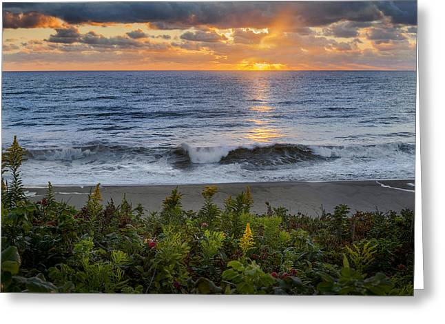 Light Rays Greeting Cards - Atlantic Sunrise Greeting Card by Bill  Wakeley
