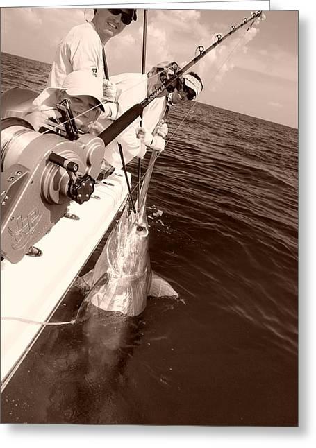 Swordfish Greeting Cards - Atlantic Swordfish off Islamorada Greeting Card by Jim Rabenstine
