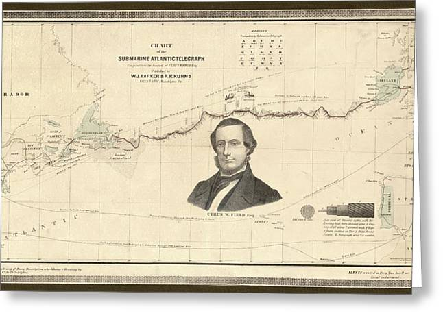Atlantic Telegraph And Cyrus Field Greeting Card by Library Of Congress, Geography And Map Division