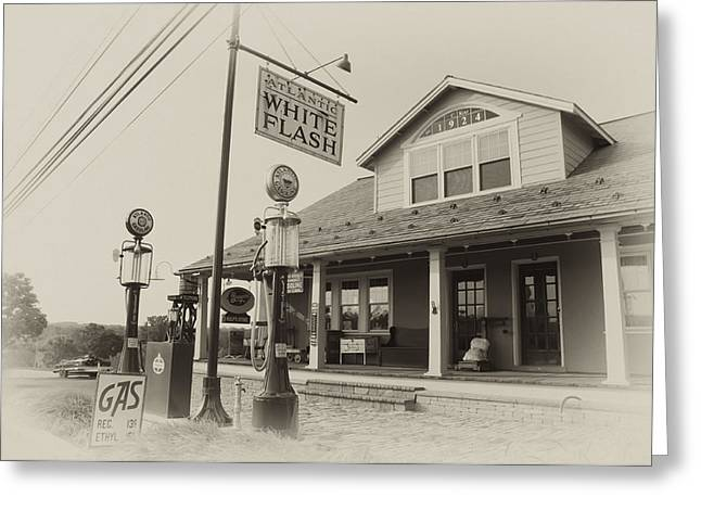 Petrol Station Greeting Cards - Atlantic White Flash Gas Station Greeting Card by Bill Cannon