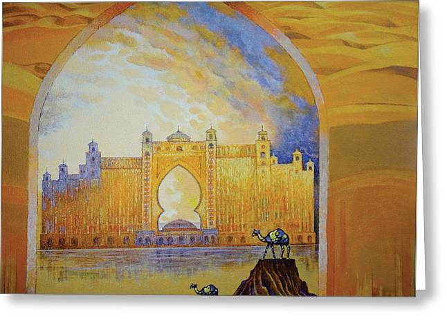 Contemporary Night Scape Greeting Cards - Atlantis and Camels Dubai Greeting Card by Art Tantra