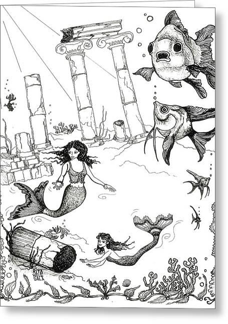 Atlantis Drawings Greeting Cards - Atlantis Mermaids Greeting Card by Rita Welegala