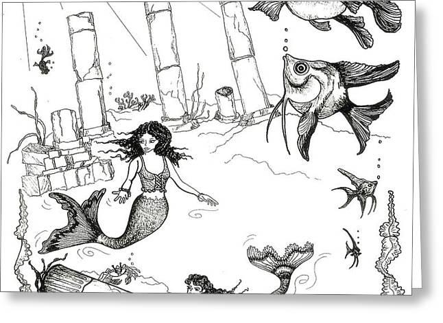 Atlantis Mermaids Greeting Card by Rita Welegala