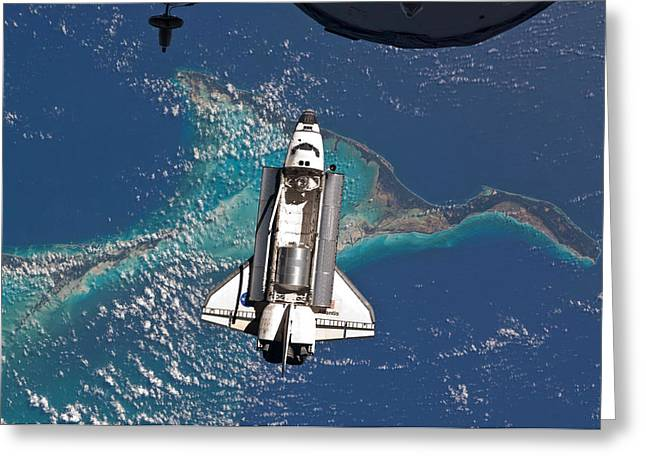 Atlantis Shuttle Docking - Final Mission Greeting Card by World Art Prints And Designs