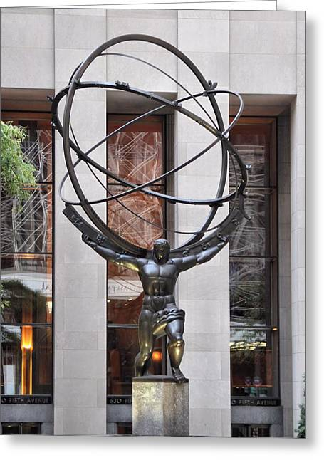 New Mind Greeting Cards - Atlas Bronze Statue At Rockefeller Center Greeting Card by Dan Sproul