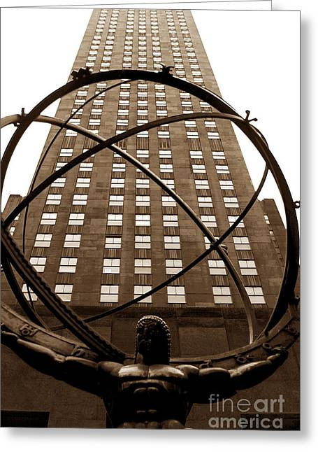 Atlas Print Greeting Cards - Atlas Greeting Card by John Rizzuto
