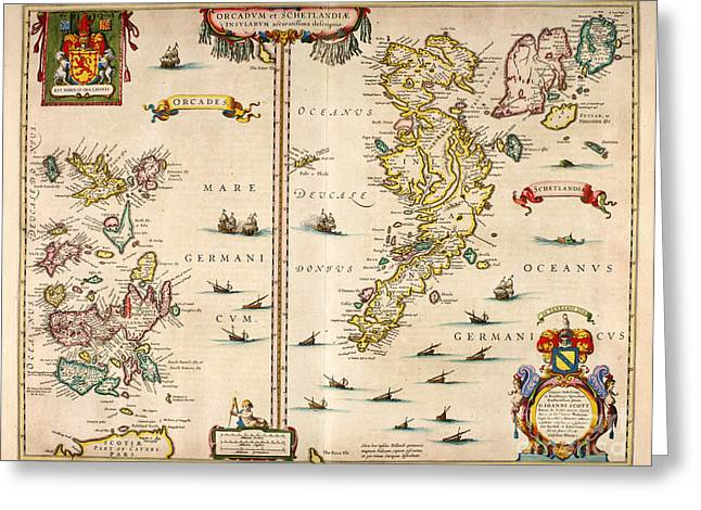 Atlas Paintings Greeting Cards - Atlas of Scotland - Orkney and Shetland 1654 Greeting Card by Celestial Images
