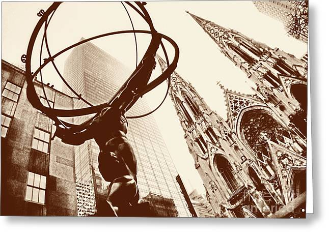 Atlas Print Greeting Cards - Atlas Statue and St.Patricks Cathedral in Black and White Greeting Card by Nishanth Gopinathan