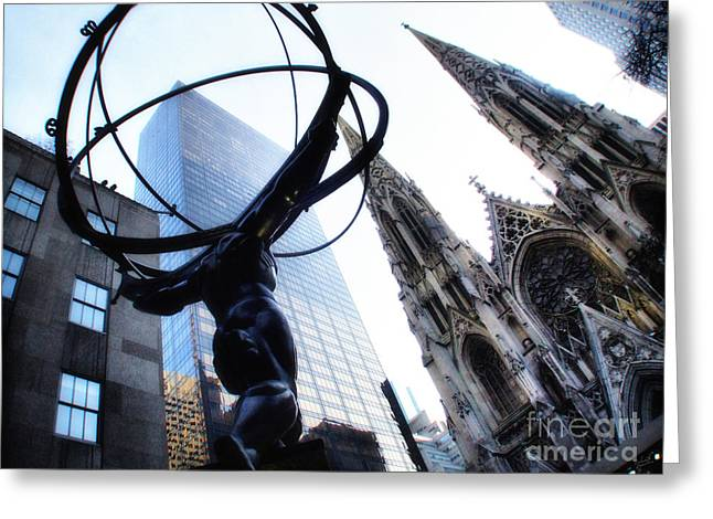 Atlas Print Greeting Cards - Atlas Statue and St.Patricks Cathedral in Color Greeting Card by Nishanth Gopinathan