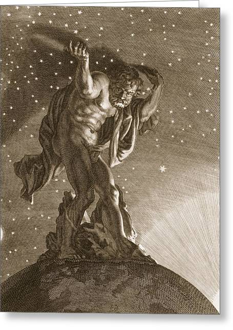 Support Drawings Greeting Cards - Atlas Supports The Heavens Greeting Card by Bernard Picart
