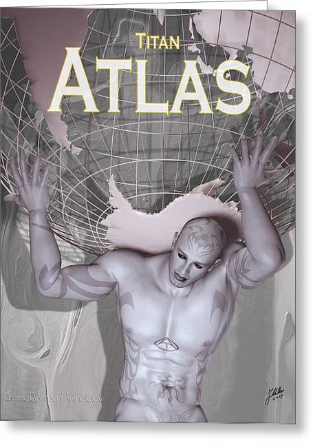 Tattoed Greeting Cards - Atlas Titan Greeting Card by Joaquin Abella