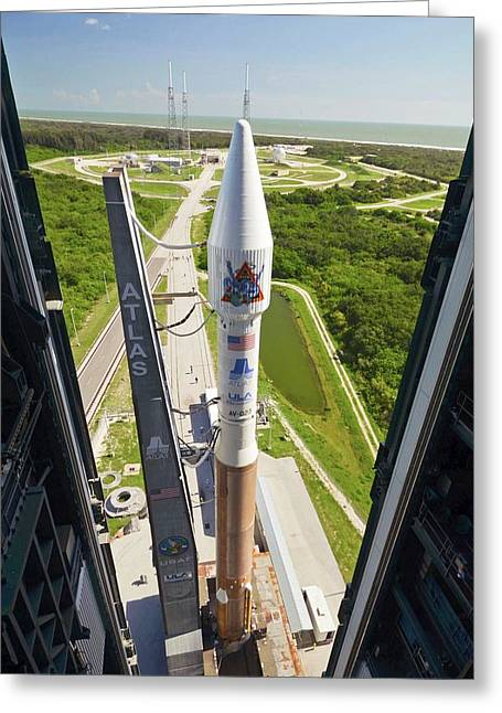 Atlas V Rocket On Launch Pad Greeting Card by National Reconnaissance Office