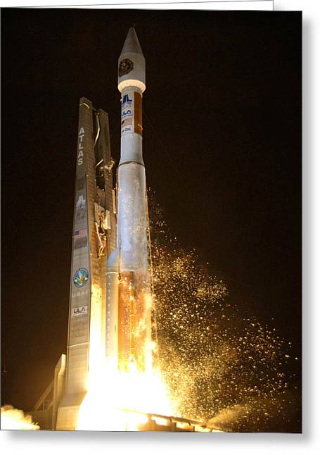 Greeting Card featuring the photograph Atlas V Rocket Taking Off by Science Source