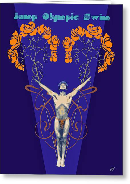 Olympics Drawings Greeting Cards - Atletism By Quim Abella Greeting Card by Joaquin Abella