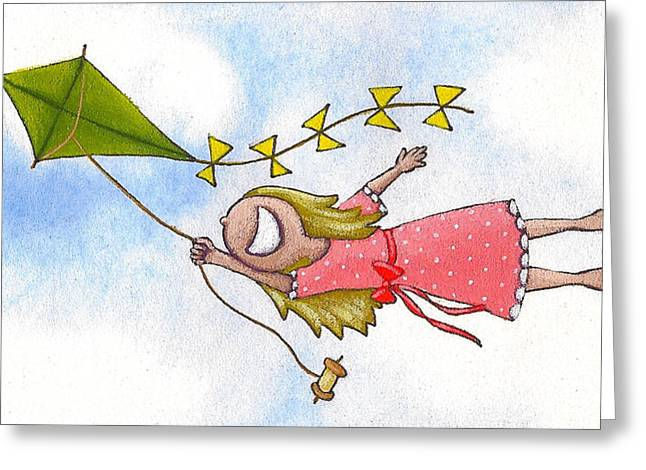 Flying Drawings Greeting Cards - Atmosphere Greeting Card by Christy Beckwith