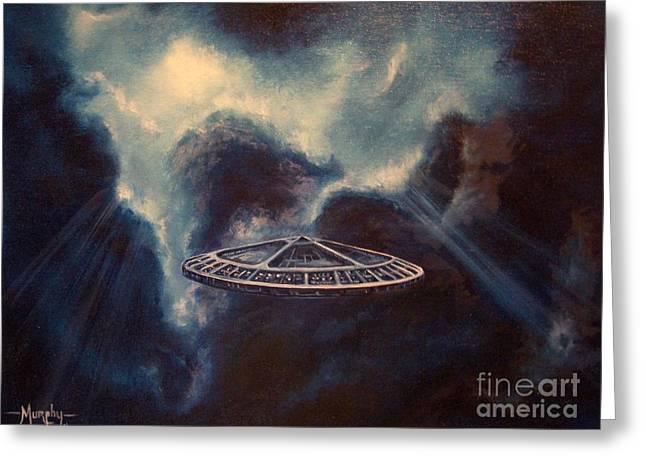 Astros Paintings Greeting Cards - Atmospheric Arrival Greeting Card by Murphy Elliott