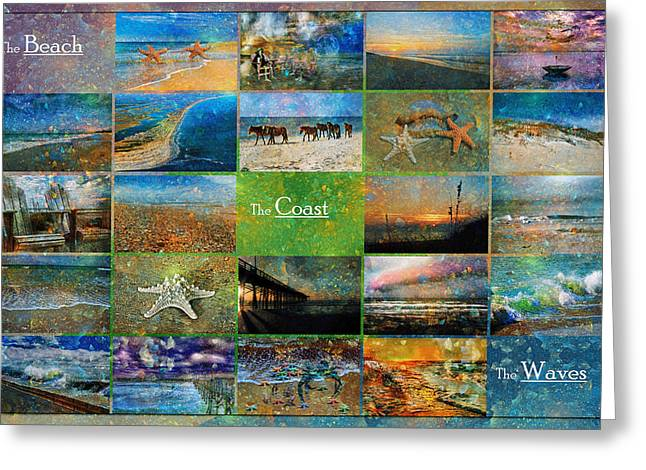 Ocean Shore Mixed Media Greeting Cards - Atmospheric Beaches   Greeting Card by Betsy C  Knapp