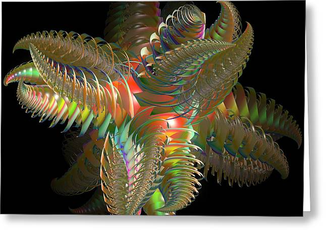 Generative Art Greeting Cards - Atom of Color Greeting Card by Deborah Benoit