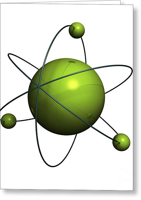 Nuclei Greeting Cards - Atom structure Greeting Card by Johan Swanepoel