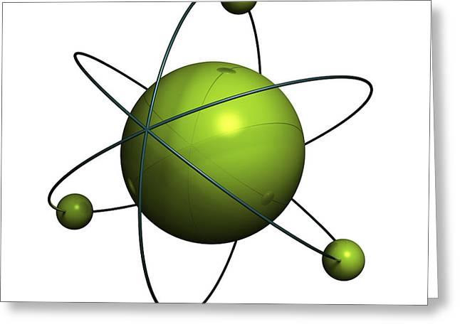 Spheres Greeting Cards - Atom structure Greeting Card by Johan Swanepoel