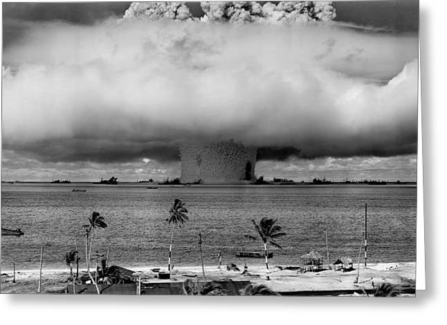 Black Mass Greeting Cards - Atomic Bomb Test Greeting Card by Mountain Dreams
