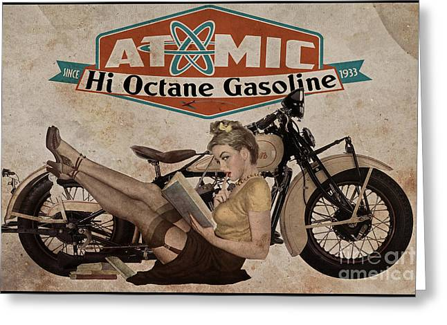 Motorcycles Greeting Cards - Atomic Gasoline Greeting Card by Cinema Photography