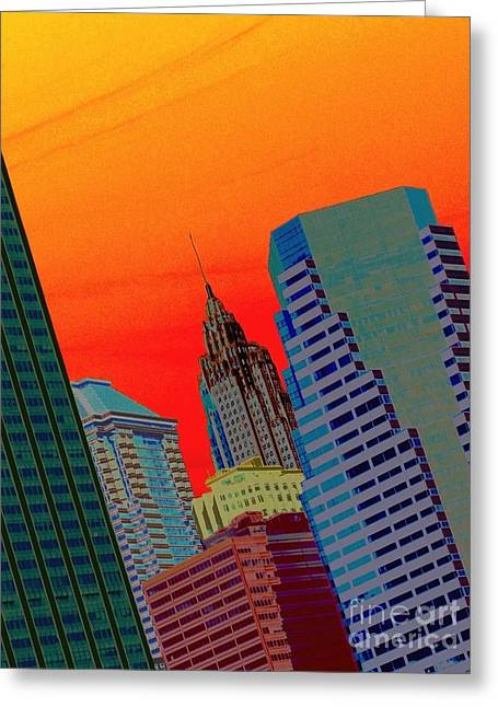 Atomic Skyline Greeting Card by Andy Heavens