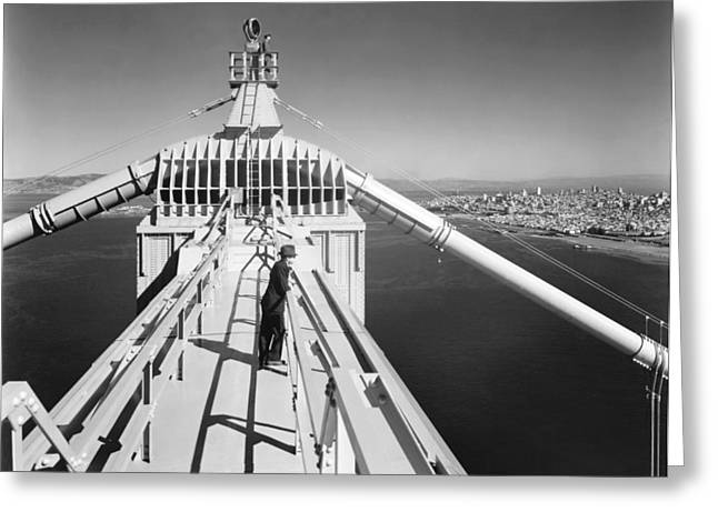 Black Top Greeting Cards - Atop The Golden Gate Bridge Greeting Card by Underwood Archives