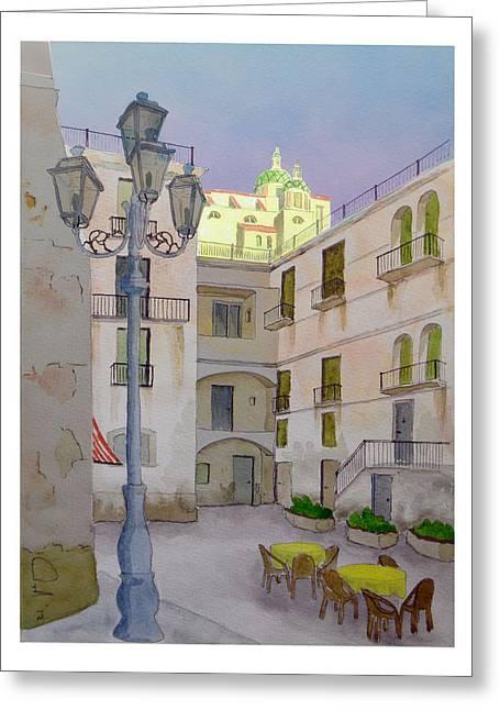 Amalfi Sunset Greeting Cards - Atrani in the evening Greeting Card by Rod Jones