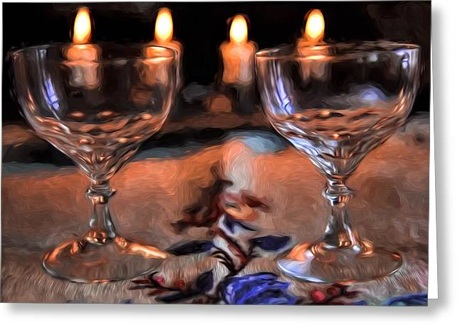 Glass Table Reflection Digital Art Greeting Cards - Atristic paintirly Two #glasses And Four #lights Greeting Card by Leif Sohlman