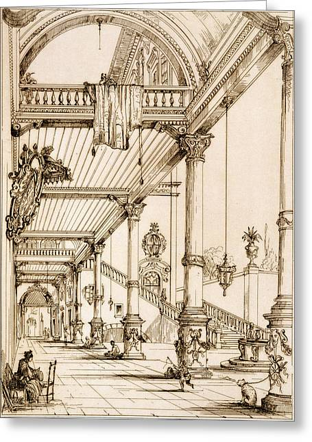 Staircase Drawings Greeting Cards - Atrium Of A Palace, In Genes, From Art Greeting Card by Jean Francois Albanis de Beaumont