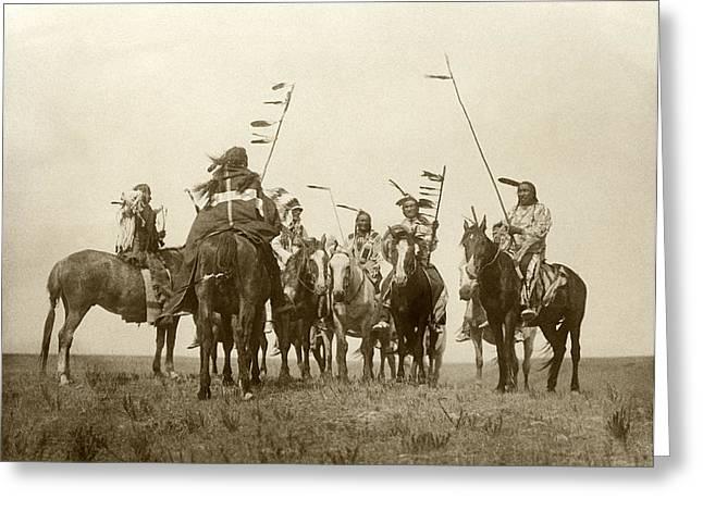 Atsina Warriors On Horseback Greeting Card by Underwood Archives