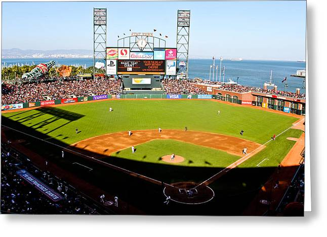 Pastimes Greeting Cards - ATT Park San Francisco  Greeting Card by John McGraw