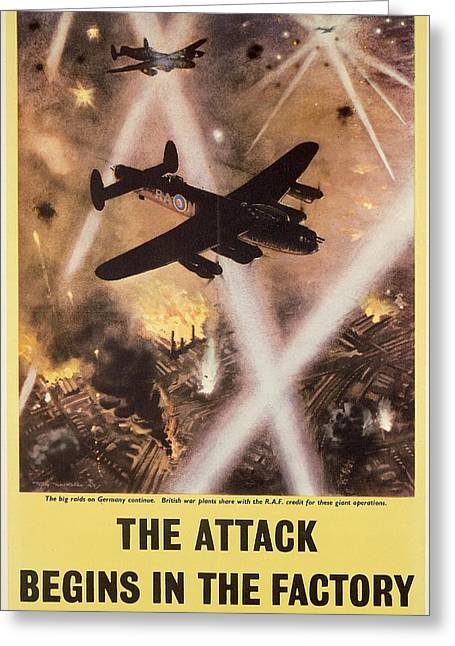 History Drawings Greeting Cards - Attack begins in factory propaganda poster from World War II Greeting Card by Anonymous