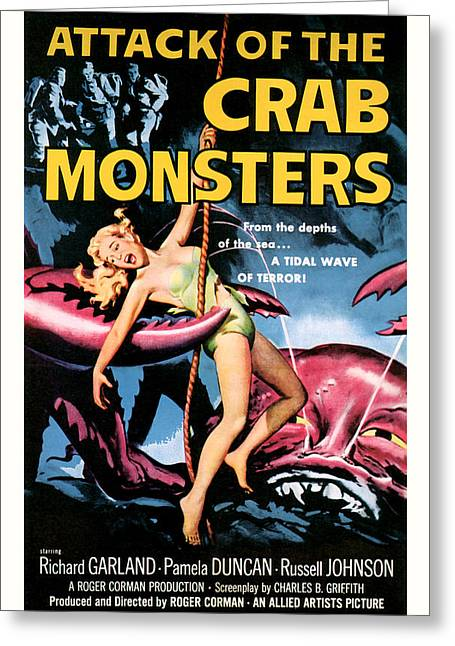 1957 Movies Greeting Cards - Attack of the Crab Monster 1957  Greeting Card by Presented By American Classic Art