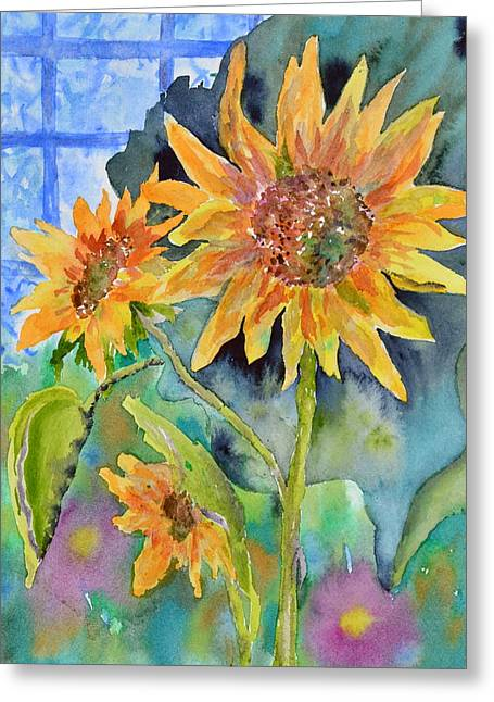 Bht Greeting Cards - Attack of the Killer Sunflowers Greeting Card by Beverley Harper Tinsley