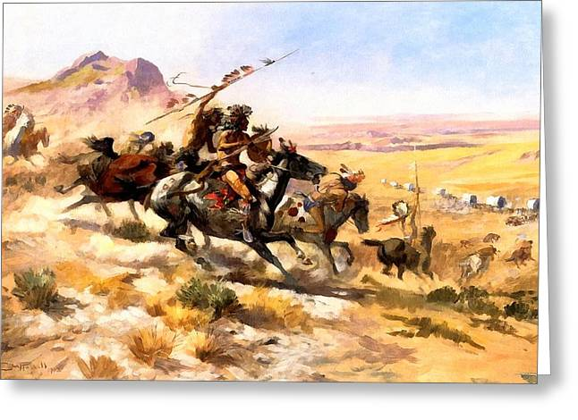 Western Greeting Cards - Attack On A Wagon Train Greeting Card by Charles Russell