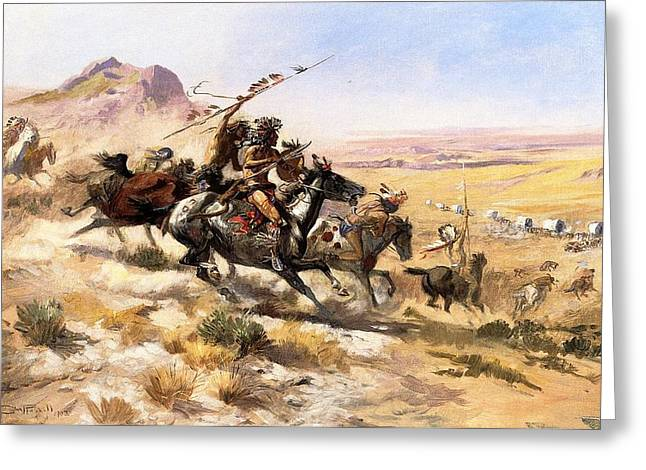 Wagon Digital Art Greeting Cards - Attack On The Wagon Train Greeting Card by Charless Russell