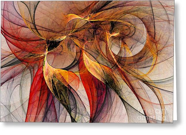 Subtile Greeting Cards - Attempt to Escape-Abstract Art Greeting Card by Karin Kuhlmann